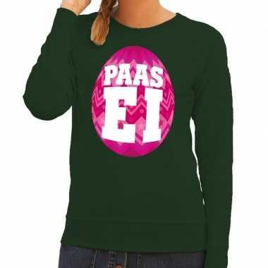Paas sweater groen roze ei dames