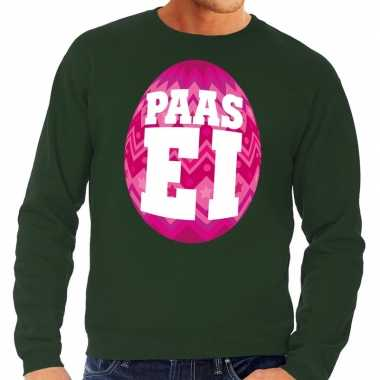 Paas sweater groen roze ei heren