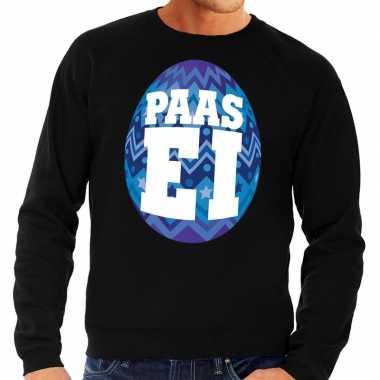 Paas sweater zwart blauw ei heren
