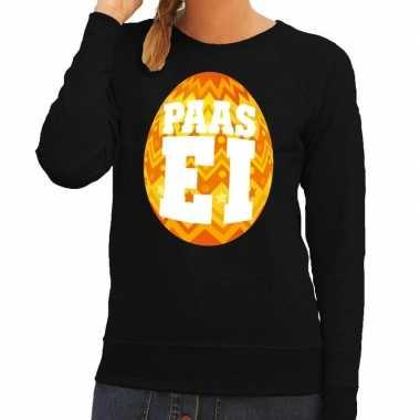 Paas sweater zwart oranje ei dames