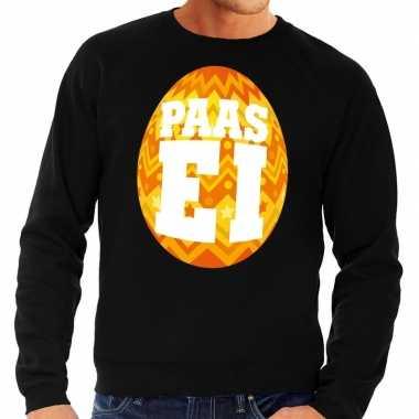 Paas sweater zwart oranje ei heren