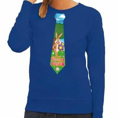 Paashaas stropdas vrolijk pasen sweater blauw dames