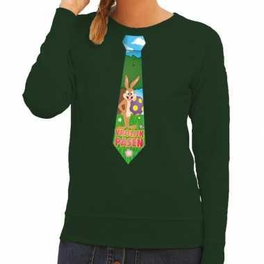 Paashaas stropdas vrolijk pasen sweater groen dames