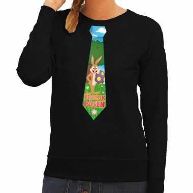 Paashaas stropdas vrolijk pasen sweater zwart dames