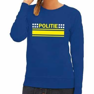 Politie logo sweater blauw dames