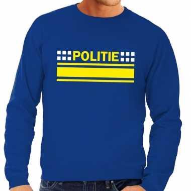 Politie logo sweater blauw heren