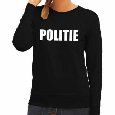 Politie tekst sweater / trui zwart dames