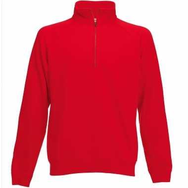 Rode fleece sweater/trui rits kraag heren/volwassenen