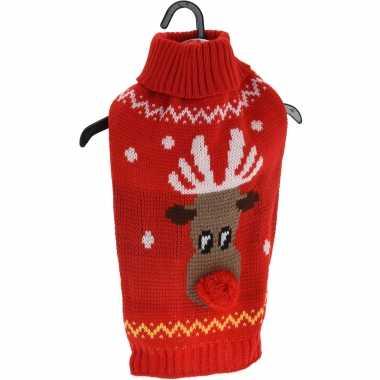 Rode gebreide foute kersttrui rendier huisdieren