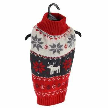 Rode gebreide foute kersttrui sneeuwvlokken rendieren huisdieren