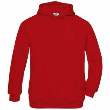 Rode katoenmix sweater capuchon jongens