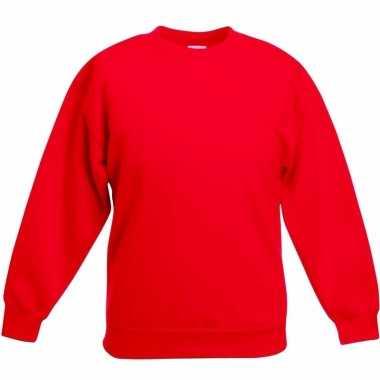 Rode katoenmix sweater meisjes