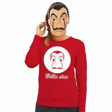 Rode salvador dali sweater la casa papel masker dames