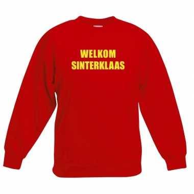 Rode sinterklaas trui / sweater welkom sinterklaas kinderen