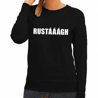Rustaaagh tekst sweater / trui zwart dames