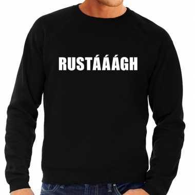 Rustaaagh tekst sweater / trui zwart heren