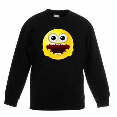Smiley sweater geschrokken zwart kinderen