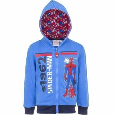 Spiderman sweater rits blauw