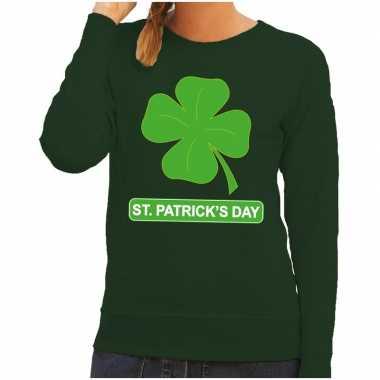 St. patricksday klavertje sweater groen dames