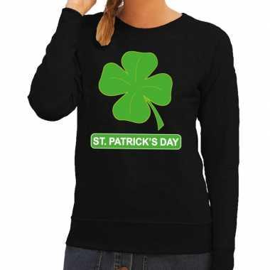 St. patricksday klavertje sweater zwart dames