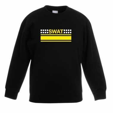 Swat team logo sweater zwart kinderen