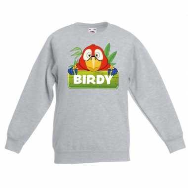 Sweater grijs kinderen birdy papegaai