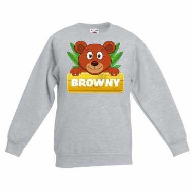 Sweater grijs kinderen browny beer