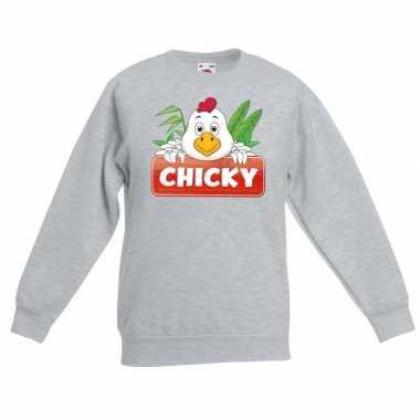 Sweater grijs kinderen chicky kip