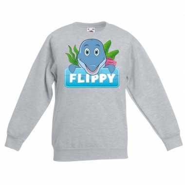 Sweater grijs kinderen flippy dolfijn