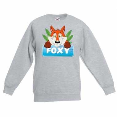 Sweater grijs kinderen foxy vos