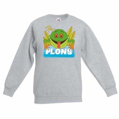 Sweater grijs kinderen plons kikker