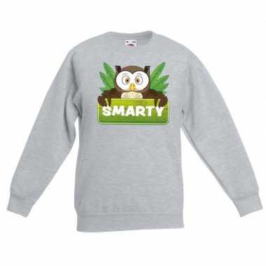 Sweater grijs kinderen smarty uil