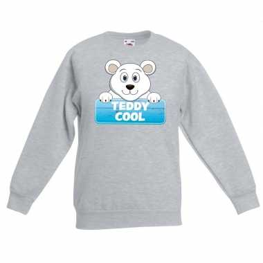 Sweater grijs kinderen teddy cool ijsbeer