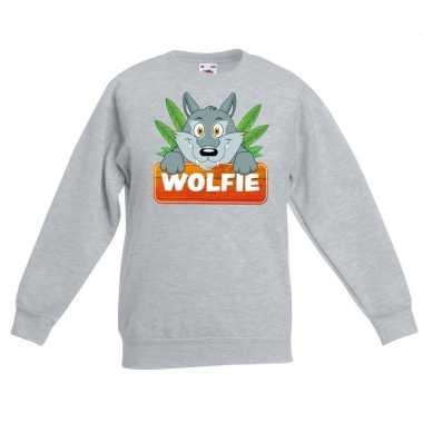 Sweater grijs kinderen wolfie wolf