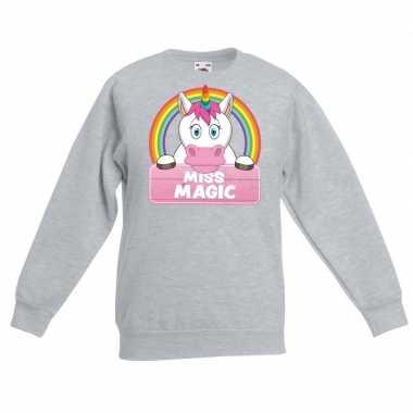 Sweater grijs meisjes miss magic eenhoorn