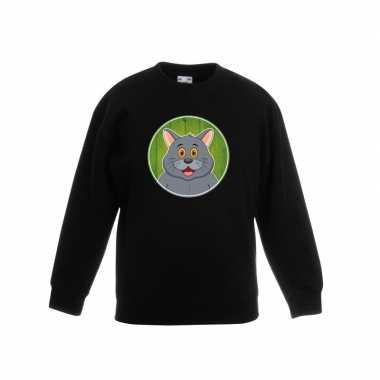 Sweater zwart grijze kat kinderen
