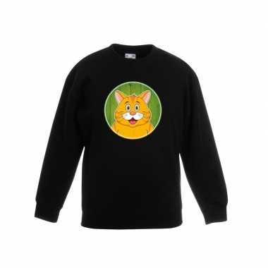 Sweater zwart oranje kat kinderen