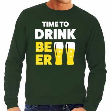 Time to drink beer tekst sweater groen heren