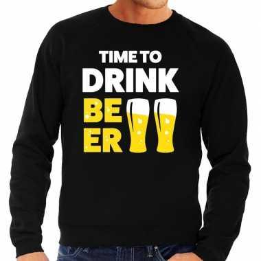 Time to drink beer tekst sweater zwart heren