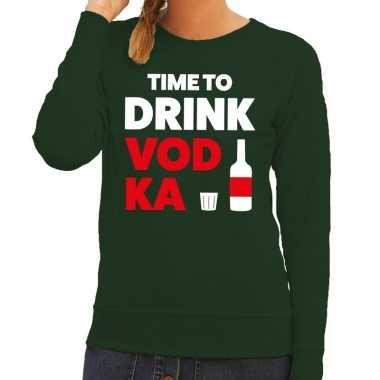 Time to drink vodka tekst sweater groen dames