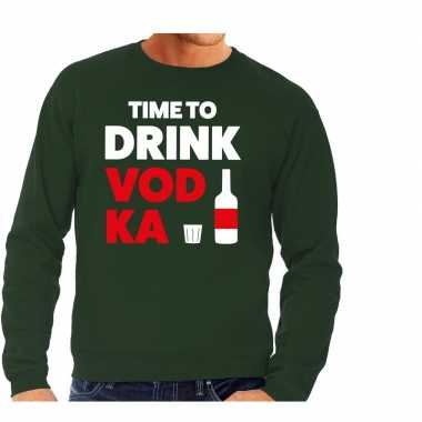 Time to drink vodka tekst sweater groen heren