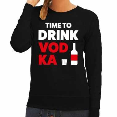 Time to drink vodka tekst sweater zwart dames