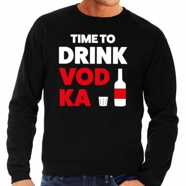 Time to drink vodka tekst sweater zwart heren