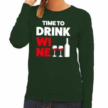 Time to drink wine tekst sweater groen dames