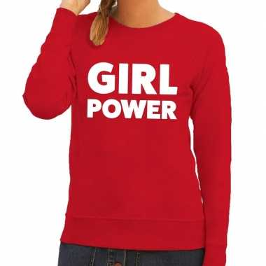 Toppers girl power tekst sweater rood dames
