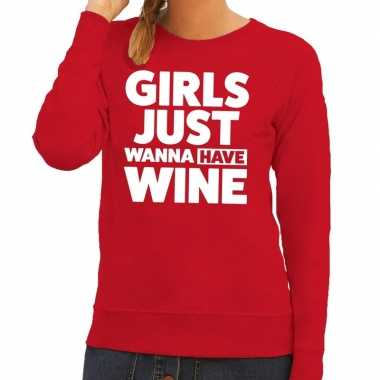 Toppers girls just wanna have wine tekst sweater rood dames
