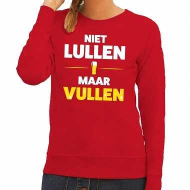 Toppers niet lullen maar vullen tekst sweater rood dames