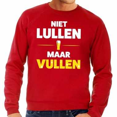 Toppers niet lullen maar vullen tekst sweater rood