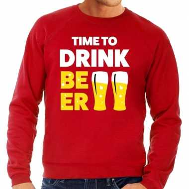 Toppers time to drink beer tekst sweater rood