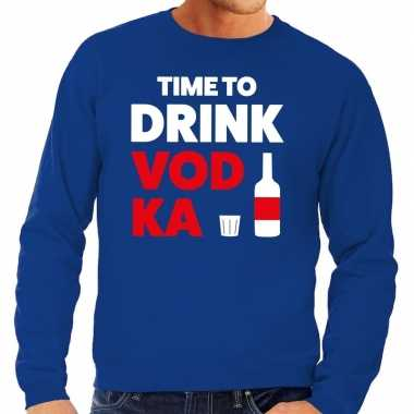 Toppers time to drink vodka tekst sweater blauw